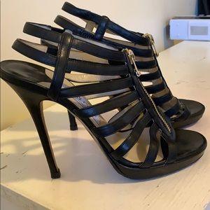JIMMY CHOO Glenys Black Leather Stiletto Sandal